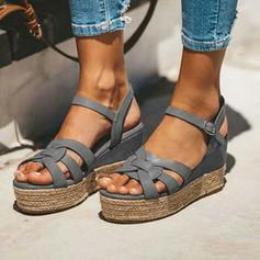 Women's PU Wedge Heel Sandals With Buckle shoes