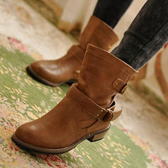 Women's PU Low Heel Pumps Closed Toe Boots Mid-Calf Boots With Buckle shoes