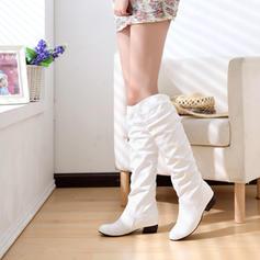 Femmes Similicuir Talon bas Bout fermé Bottes Bottes hautes Cuissardes avec Plissé chaussures