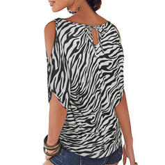 Print luipaard Cold Shoulder 1/2 Mouwen Casual Blouses