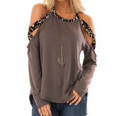 Patchwork Leopard Cold Shoulder Long Sleeves Casual Blouses
