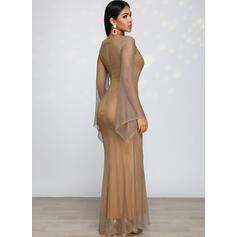 Cekiny Długie rękawy Pokrowiec Przyjęcie/Elegancki Maxi Sukienki