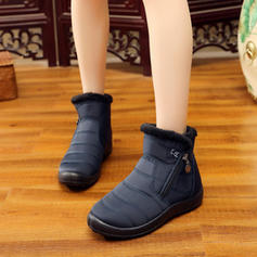 Women's Canvas Flat Heel Flats Boots With Zipper shoes