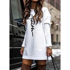 印刷 長袖 シフトドレス 膝上 カジュアル チュニック ドレス
