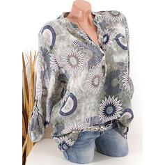 Nadruk Kwiatowy Dekolt w kształcie litery V Długie rękawy Zapięcie na guzik Casual Elegancki Bluzki