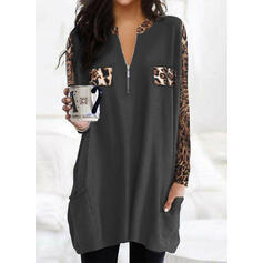 Print Leopard Pockets V-Neck Long Sleeves Sweatshirt