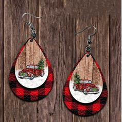 Drop Shape Christmas Alloy PU Women's Earrings 2 PCS
