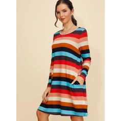 Striped Long Sleeves Shift Knee Length Casual Dresses