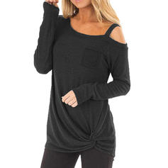 Solid One-Shoulder Long Sleeves Casual Knit T-shirts