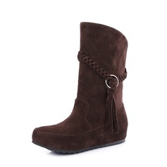 Women's Suede Flat Heel Flats Closed Toe Boots Mid-Calf Boots With Braided Strap shoes