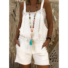 Solid Strap Sleeveless Casual Romper