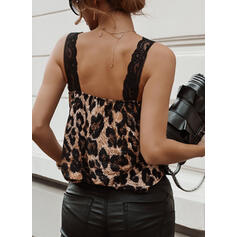 Lace Leopard V-Neck Sleeveless Casual Tank Tops