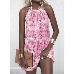 Print Sleeveless Shift Above Knee Casual Slip Dresses