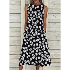 Print Sleeveless A-line Casual Midi Dresses
