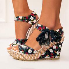 Donna Panno Zeppe Sandalo Zeppe Punta aperta Tacchi con Bowknot Allacciato scarpe