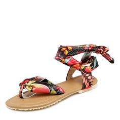 Women's Fabric Flat Heel Sandals Flats Peep Toe Slingbacks With Bowknot shoes