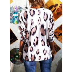 Leopardo Decote em V Manga Comprida Casual Blusas