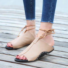 Women's PVC Flat Heel Sandals Flats Peep Toe Slingbacks With Lace-up shoes