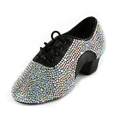 Men's Leatherette Flats Latin Ballroom Swing Practice Character Shoes With Rhinestone Dance Shoes