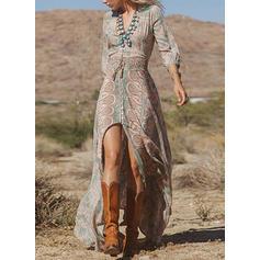 Print 3/4 Sleeves A-line Maxi Boho/Vacation Dresses