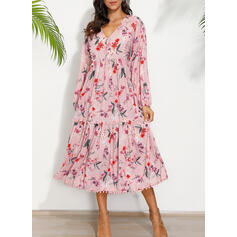 Print/Floral Long Sleeves Shift Tunic Casual/Boho/Vacation Midi Dresses