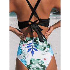 High Waist Print Halter Sexy Vintage Bikinis Swimsuits