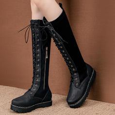 Жіночі ПУ Низька підошва Черевики вище колін з Зашнурувати взуття