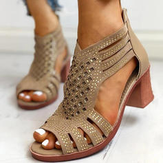 Women's PU Chunky Heel Pumps Peep Toe With Hollow-out shoes