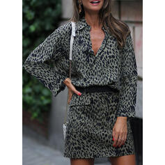Print/Leopard Long Sleeves Sheath Above Knee Casual Dresses