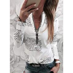Print Figure V-Neck Long Sleeves Casual Blouses