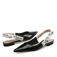 Women's Patent Leather Flat Heel Sandals Flats Closed Toe With Bowknot shoes