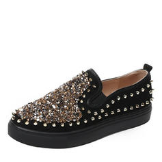 Women's Leatherette Flat Heel Flats With Sequin Rivet shoes