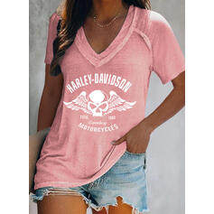 Figure Imprimé Col V Manches Courtes T-shirts
