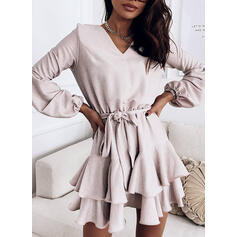 Solid Long Sleeves A-line Above Knee Casual Skater Dresses