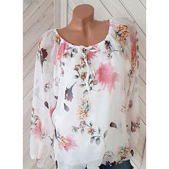 Print Round Neck Long Sleeves Casual Elegant Blouses