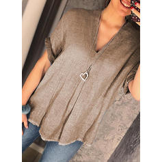 Solid V-Neck Short Sleeves Casual Knit T-shirt