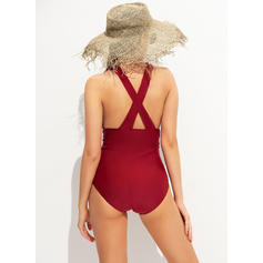 Solid Color V-neck Strapless Sexy One-piece Swimsuits