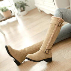 Women's PU Low Heel Chunky Heel Knee High Boots With Buckle shoes