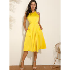 Solid Sleeveless A-line Skater Casual/Elegant Midi Dresses