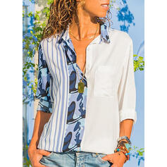 Print Lapel Long Sleeves Casual Shirt Blouses