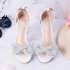 Women's Leatherette Stiletto Heel Peep Toe With Bowknot