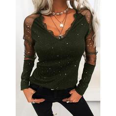 Print Lace V-Neck Long Sleeves Elegant Blouses