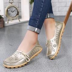 Femmes Vrai cuir Talon plat Chaussures plates avec Ouvertes chaussures