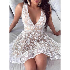 Lace/Solid Sleeveless A-line Above Knee Elegant Skater Dresses