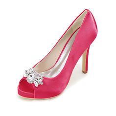 Women's Silk Like Satin Stiletto Heel Platform Pumps With Others