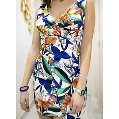 Print/Floral Sleeveless Bodycon Asymmetrical Sexy/Party Dresses