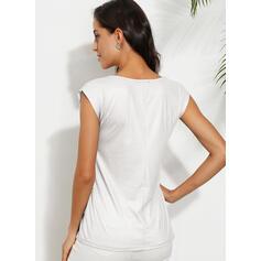 PolkaDot Round Neck Cap Sleeve Casual T-shirts