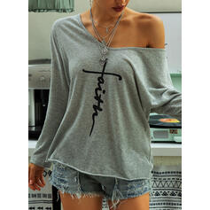 Print V-Neck Long Sleeves Casual T-shirts