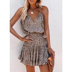 Leopard Sleeveless A-line Above Knee Casual Slip/Skater Dresses