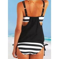 Stripe Strap U-Neck Vintage Plus Size Tankinis Swimsuits